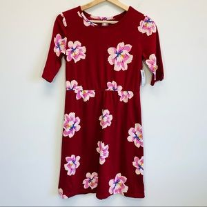 OLD NAVY Red Floral Keyhole T-Shirt Dress XL NWT